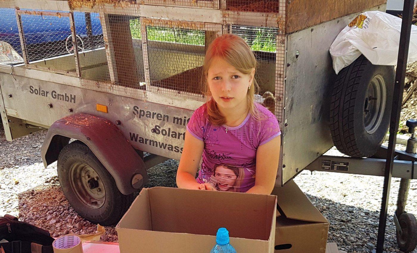 ילדה קטנה מוכרת ברווזים