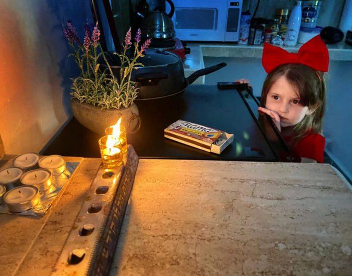 הדלקת נרות חנוכה בבית שלנו בקוזומל