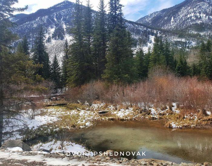 נהר זורם בשלג